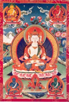 Thus the five transcendental Buddhas, personification of the abstract aspects of Buddhahood, are each endowed with a different color in their sadhanas: 1. Vairochana - White bodied 2. Ratnasambhava - Yellow bodied 3. Akshobhya - Blue bodied 4. Amitabha - Red bodied 5. Amoghasiddhi - Green bodied