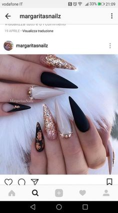 """If you're unfamiliar with nail trends and you hear the words """"coffin nails,"""" what comes to mind? It's not nails with coffins drawn on them. It's long nails with a square tip, and the look has. Black Nail Designs, Acrylic Nail Designs, Nail Art Designs, Fabulous Nails, Gorgeous Nails, Hot Nails, Hair And Nails, Dream Nails, Cute Acrylic Nails"""