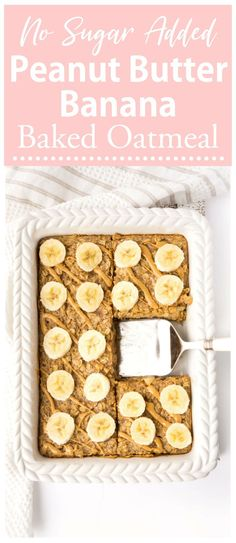 Breakfast doesn t get much easier than this Peanut Butter Banana Baked Oatmeal Whip up a batch and store it in the fridge or freezer for a quick and easy breakfast throughout the week Great option for the whole family Gluten-free vegetarian no-sugar added Quick And Easy Breakfast, Healthy Breakfast Recipes, Healthy Quick Meals, Easy Breakfast Ideas, Ripe Banana Recipes Healthy, Dinner Ideas Healthy, Healthy Foods, Healthy Banana Muffins, Healthy Breakfast On The Go