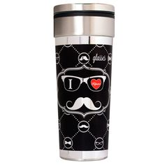 Metallic Glasses, mustaches and bowties. This 22 ounce stainless steel travel tumbler is decorated with colorful metallic hippie phrases and classic smiley faces. This tumbler features a spill-resistant lid and is insulated to keep beverages hot or cold.