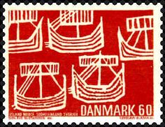 Sello: Viking Ships (from old Swedish coin) (Dinamarca) (Nordic Associations - Mi:DK 478 Danish Vikings, Postage Stamp Art, Going Postal, Love Stamps, Tampons, Stamp Collecting, Mail Art, My Stamp, Ephemera