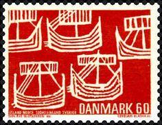 Sello: Viking Ships (from old Swedish coin) (Dinamarca) (Nordic Associations - Mi:DK 478 Danish Vikings, Postage Stamp Art, Going Postal, Love Stamps, Tampons, Mail Art, Stamp Collecting, My Stamp, Ephemera