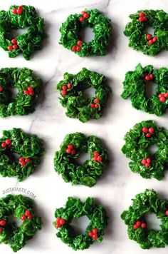 Whip up a festive take on Rice Krispies treats with a quick and easy recipe for marshmallow Christmas wreaths.