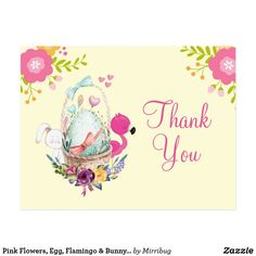 Shop Pink Flowers, Egg, Flamingo & Bunny Party Thanks Postcard created by Mirribug. Bunny Party, Baby Shower Thank You Cards, Thank You Postcards, Pink Flamingos, Bunny Rabbit, Wicker Baskets, Pink Flowers, Pink And Green, Egg