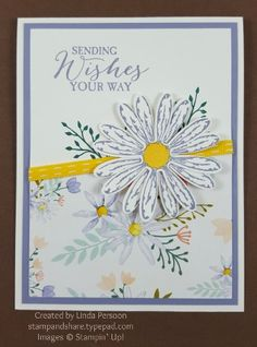 Daisy Delight Birthday Card with Rose Wonder stamp set by Linda Persoon stampandshare.typepad.com