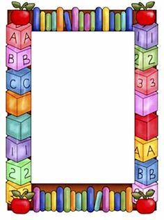 Cute School Border and Frames Page Boarders, Boarders And Frames, Boarder Designs, Page Borders Design, Portfolio Kindergarten, School Border, Kids Background, School Frame, School Clipart