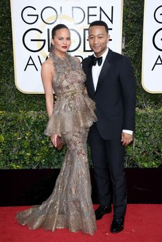 Cutest couple, Chrissy Teigen and John Legend slayed for their red carpet premiere at the Golden Globes.