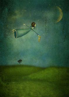 Fly me to the moon - Art print different sizes) - Maja Lindberg ETSY: Fly me to the moon – Illustration print (size 7 x - Art And Illustration, Illustrations, Art Fantaisiste, Sea Art, Moon Art, Pics Art, Whimsical Art, Stars And Moon, Amazing Art