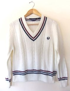 Vintage FRED PERRY Tennis SWEATER Off White w Red & Blue Trim // Preppy V Neck Nautical Top