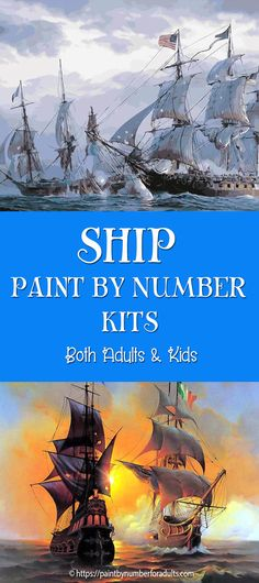 Are you looking for ship paint by number kits? You'll find plenty of paint by number kits of ships, sail boats, war ships, military ships and Pirate Ships at sea.