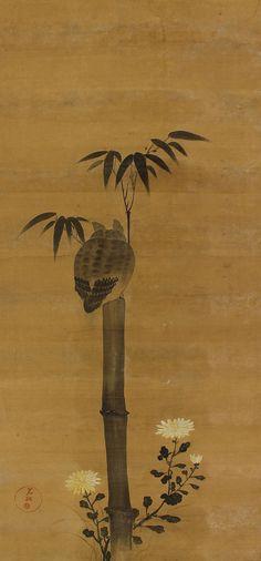 Horned Owl Kakejiku by Ogata Kōrin (1658 – 1716) (attb.)