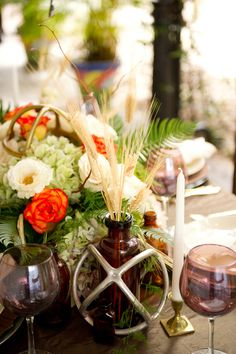 farm inspired reception decor - photo by Andi Diamond http://ruffledblog.com/colorful-industrial-chic-wedding-shoot