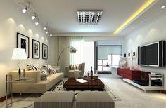 éclairage led salon - ruban led jaune, spots led au plafond et plafonnier rail de design cool