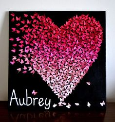 Items similar to Personalized Ombre Butterfly Heart/ Butterfly Art / Unique Modern Nursery Decor /Girl's Room Decor Wedding Gift - Made to Order on Etsy Art Diy, Diy Wall Art, 3d Wall, Diy And Crafts, Arts And Crafts, Paper Crafts, Art Mural Papillon, Modern Nursery Decor, Butterfly Wall Art