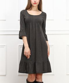 Look at this Charcoal Ruffle Empire-Waist Dress on #zulily today!
