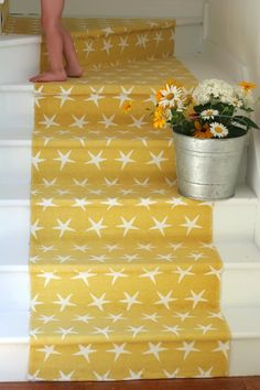 "painted stairs + cheerful runner- love the carpet runner idea! Much better than the carpet ""mats"" we have on our stairs. Painted Stairs, Painted Floors, Painted Wood, Cottage Staircase, Hallway Carpet Runners, Up House, Basement Stairs, Attic Stairs, Home And Deco"