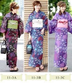 Once again I would be torn between which of these yukata I like best, color-wise. Note that the obijime is tied higher than the midline of t...