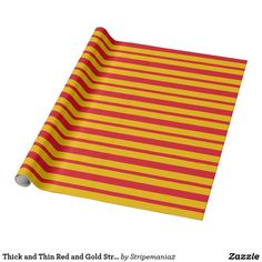 Thick and Thin Red and Gold Stripes Wrapping Paper