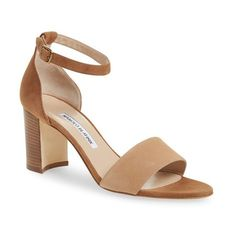 Manolo Blahnik 'Lauratomod' Ankle Strap Sandal ($745) ❤ liked on Polyvore featuring shoes, sandals, beige suede, polish leather shoes, genuine leather shoes, leather shoes, shiny shoes and leather ankle wrap sandals