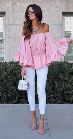 stylish look: off shoulder top + pants