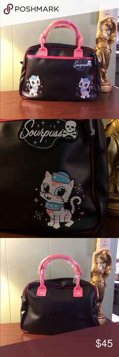 Sourpuss Rockabilly Pinup Sailor Kitty Handbag A super awesome purse by Sourpuss. It is black and hot pink with two precious sailor kitties on the front. I've had it for a few years and never used it, it's been living in my closet inside its dust cover, which it will come with. Brand new with tags and handles are still wrapped. Perfect condition. Bundle to save or make a reasonable offer. Sourpuss Bags