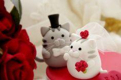 ~^.^~  Handmade cat and kitty Wedding Cake Topper. (by kikuike)