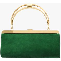 """Balmain """"The day to evening"""" suede clutch featuring polyvore, women's fashion, bags, handbags, clutches, green, white clutches, evening handbags, suede clutches, special occasion handbags and white handbags"""