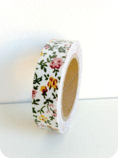 Fabric tape flores rosas y amarillas - Shop We Love Parties Bcn
