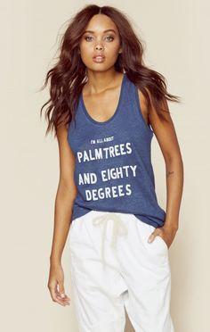 Zoe Karssen Clothing Tops Tank Tops Palm Trees 80 Degrees Tank