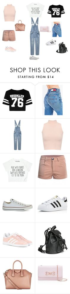 """""""# Three day crop shirt challenge"""" by holmesisis ❤ liked on Polyvore featuring Boohoo, Tommy Hilfiger, WearAll, Converse, adidas, adidas Originals, H&M, Givenchy and Ted Baker"""