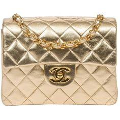 Preowned Chanel - Classic Mini Flap Metallic Gold Quilted Leather found on Polyvore featuring bags, handbags, chanel, multiple, pre owned handbags, quilted leather purse, quilted leather handbags, brown purse and flap handbags