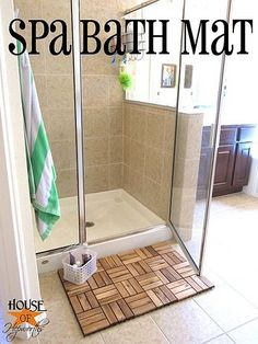 A bathmat using IKEA outdoor decking.  I like this!