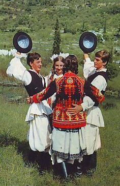 Europe | Portrait of four young men and women wearing traditional clothes, Zagorje, Croatia