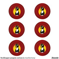 Rockhopper penguin cartoon pack of small button covers