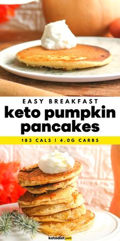 Best Pumpkin Pancakes Recipe EVER! - Made with coconut flour and plant-based milk, and flavored with vanilla, ginger, cloves and cinnamon they will fuel you with energy and satisfy your sweet tooth without the extra carbs. Coconut Flour Pancakes, Tasty Pancakes, Pumpkin Pancakes, Pumpkin Puree, Keto Friendly Fruit, Pancake Calories, Sugar Free Syrup, Best Pumpkin, Keto Recipes