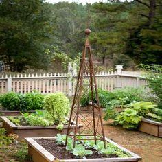 "Garden Trellis Obelisk Rustic Metal 21"" diameter x 96"" tall (including finial) Folds for storage #farmhouse #farmhousedecor #farmhousegarden"
