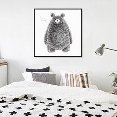 מינימליסטי נורדי שחור לבן בעלי חיים דוב Kawaii הדפסת אמנות פוסטר תקציר בד ציור ללא מסגרת תמונה קיר חדר ילדים דקור