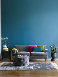 Colourful Living Room, Paint Colors For Living Room, Cozy Living Rooms, Home Living Room, Living Room Designs, Living Room Decor, Room Color Schemes, Room Colors, Minimal House Design