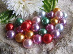 25 Wachsperlen 12 mm bunt gemischt, Schmuck mit Perlen selbst machen, fädeln