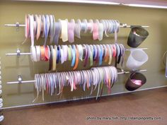 Ikea Dowels and Hooks for Ribbon Storage (Nice a night! Ikea Curtain Rods, Cafe Curtain Rods, Craft Room Storage, Craft Organization, Craft Rooms, Storage Ideas, Curtain Drawing, Ribbon Holders, Scrapbooking