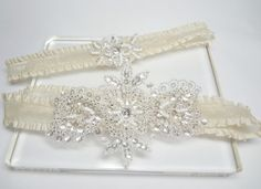 Wedding Bridal Garter Set   ivory garter set by MirinoBridal