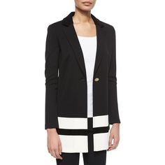 St. John Collection Contrast-Striped Velvet-Trimmed Blazer (69,430 PHP) ❤ liked on Polyvore featuring outerwear, jackets, blazers, single button blazer, st john jackets, blazer jacket, straight jacket and one button jacket
