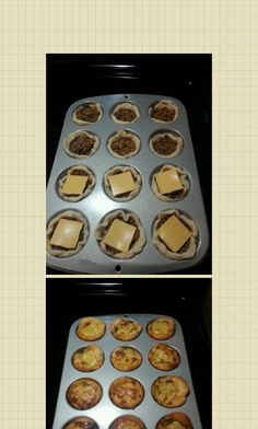 Cheeseburger Cups 1lb ground round -seasoning for beef (I used salt, pepper, garlic powder, onion powder) 1 bag shredded cheese (your favorite-I used 6 blend mexican)  3 cans biscuits-10 count cans. Sliced american cheese Heat oven to 400 Cook ground beef with seasoning crumbling as you cook it.  Once beef is fully browned, take off heat & let cool for 15-20 minutes.  While beef is cooling, take 1 1/2 biscuits and flatten to a large round circle on wax paper. Once flattened place in muffin t...