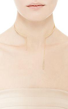 14K Yellow Gold Diamond Drop Collar by Mateo for Preorder on Moda Operandi