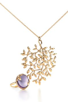 Paloma Picasso® Olive Leaf designs, from top: pendant in 18k gold and ring in 18k gold with an amethyst. #TiffanyPinterest