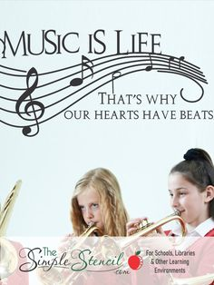 High Quality Vinyl Wall Decals, Made in the USA since 2002. Easy to install, looks painted on and removable. Select from many sizes in over 70 color options. Preview online before you buy. Satisfaction guaranteed. School purchase orders accepted.   Back to school teacher offer. Teachers save 25% using coupon code WELOVETEACHERS at checkout.   #music #musicroom #bandroom #musicquotes #musicdecals #musicteachers #musicclassroom #musicclass #schoolmusic #musicinourschools #band #schoolband… Vinyl Wall Quotes, Vinyl Wall Decals, Own Quotes, Music Quotes, Music Activities For Kids, Band Rooms, Back To School Teacher, Music Wall, Music Classroom