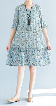 Women loose fit plus over size retro flower blue dress skater skirt fashion chic.- Women loose fit plus over size retro flower blue dress skater skirt fashion chic… Women loose fit plus over size retro flower blue dress skater skirt fashion chic - Casual Summer Dresses, Summer Dresses For Women, Trendy Dresses, Women's Dresses, Plus Size Dresses, Dress Outfits, Dress Summer, Dress Shoes, Casual Outfits