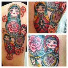 By Tracy Demetriou at Kings Cross Tattoo Parlour, London, England Dream Tattoos, Love Tattoos, Body Art Tattoos, I Tattoo, Tatoos, Pretty Tattoos, Traditional Tattoo Sketches, Russian Doll Tattoo, Nesting Doll Tattoo