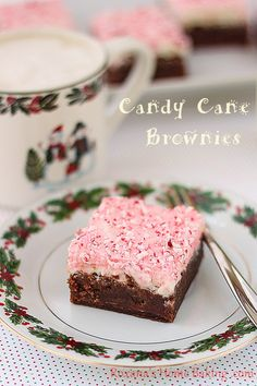 fudge brownies with candy cane frosting @RoxanaGreenGirl | Roxana's Home Baking