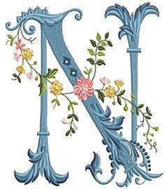alfabeto celeste con flores N